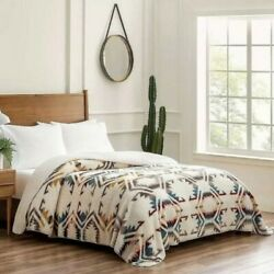 Kyпить NEW Pendleton Sherpa Fleece Blanket QUEEN White Sands Multi Southwest 98