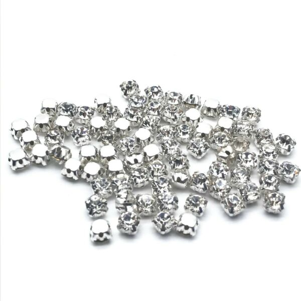 Royaume-Uni500pcs ss18-4.5mm à Coudre Strass Cristal Transparent sil Grade AAA Verre