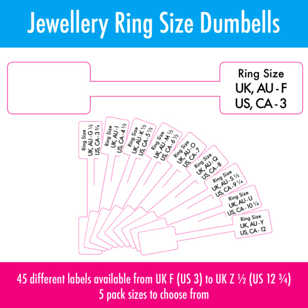 Royaume-UniExtra Strong Jewellery Ring Size Price  Sticky Labels Dumbells - 3 - 12