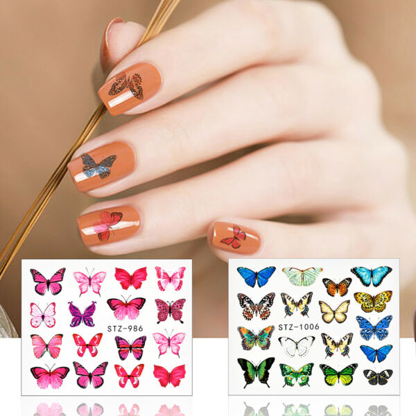 France30Pc Nail Art Stickers Eau Transferts s Fleurs Papillon Jonquille SA