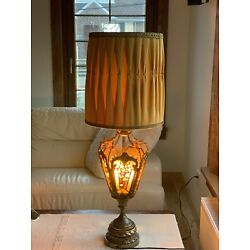 Kyпить Stunning Hollywood Regency Brass  Stained Glass Stones Table Lamp на еВаy.соm