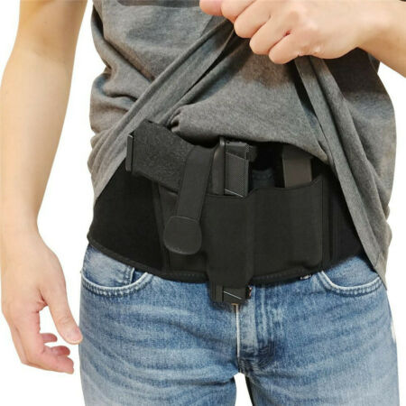 img-Belly Band Pistol Gun Holster Concealed Carry Belt with Mag Pouch Right Hand