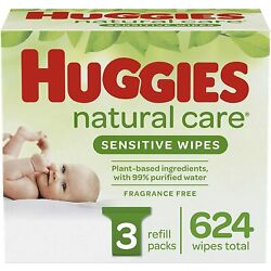 Kyпить Huggies Natural Care Sensitive Baby Wipes, Unscented, 3 Refill Packs (624 Wipes) на еВаy.соm