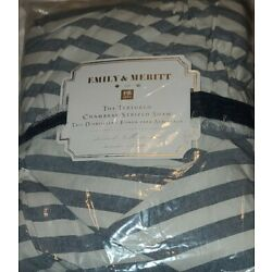 Kyпить 1 Pottery Barn Teen Emily & Meritt Striped Chambray Standard Quilted Sham NEW на еВаy.соm