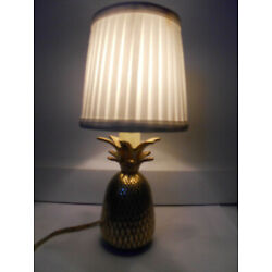 Kyпить Vintage PINEAPPLE BRASS CANDLE LAMP Table Electric White shade  на еВаy.соm