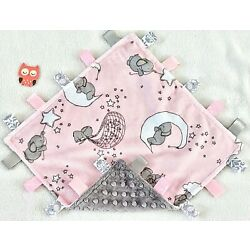 Kyпить New Double Minky! Elephant Minky & Pink Bubble Minky Tag Taggie Security Blanket на еВаy.соm