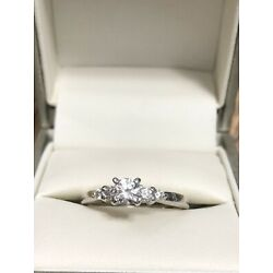 Kyпить .44ctw Diamond Solitaire with Accents Engagement Ring 14k White Gold Size 6.5 на еВаy.соm