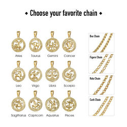 Gold Plated Zodiac Sign Constellation Pendant Necklace Unisex w/ Free Chain 18''