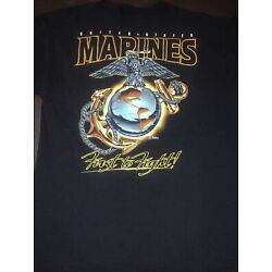 USMC. FIRST TO FIGHT. 7.62 DESIGN. T-SHIRT. SIZE. L