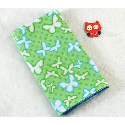 Kyпить Handcrafted, Flannel Green Butterfly Print & Blue Minky Bubble Baby Burp Cloth  на еВаy.соm