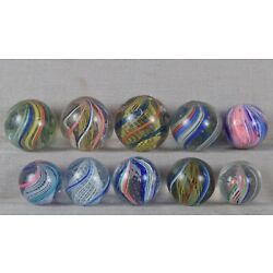 Kyпить Ten antique German SWIRL / ONIONSKIN MARBLES на еВаy.соm