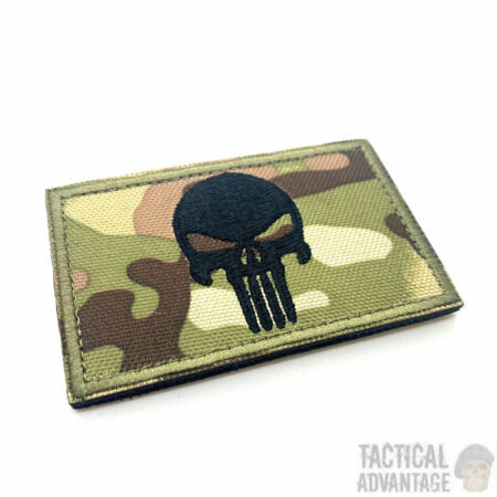 img-Punisher Multicam Camo Skull Patch Morale Badge Tactical Airsoft Army Cap