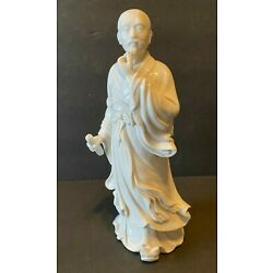 Kyпить Chinese White Porcelain Statue Man Scroll Robe Figure Kwanyin Guanyin 10