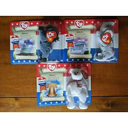Kyпить McDonald's Beanie Babies American Trio Libearty the Bear, Righty and Lefty 2000 на еВаy.соm