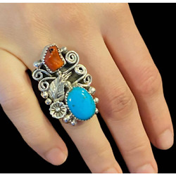 Kyпить NWT  Traditional Sterling Navajo Turquoise & Coral Ring. SZ6.5 на еВаy.соm