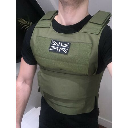 img-Body Armour Stab-Proof Tactical Vest UK Black Flag Army Airsoft Security UKSHIP