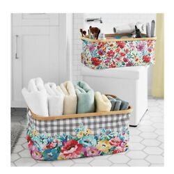 The Pioneer Woman Floral Collapsible Bins with Bamboo Rim, 2-Piece Gingham Check