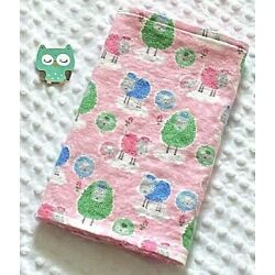 Kyпить Handcrafted, Flannel Pink Sheep & Pink Minky Bubble,Baby Burp Cloth  на еВаy.соm