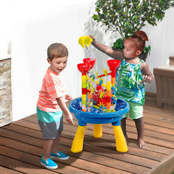 2 in 1 Sand and Water Table Activity Play Center Kids Splash Pond Beach Toy Set