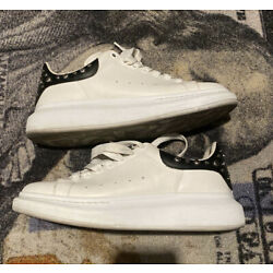 Alexander McQueen Oversized Studded Leather Sneakers EU 42E/US 9 White/Black