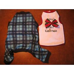 Lot of 2 Dog Blue Plaid PJ's w Legs Size S Puppy's First Christmas Shirt Size M