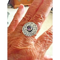 Kyпить Ring--sz 7.5--decorated flat silver back with ab 1 c amethyst stone--very lovely на еВаy.соm