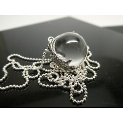 Genuine Pool Of Light Sterling Silver 925 Floral Orb Pendant Necklace Chain 20