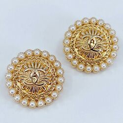 One Pair Authentic CHANEL Buttons, Stamped Gold Metal 20mm Designer Art Buttons
