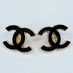 One Pair Authentic CHANEL Buttons, Stamped Gold Metal 18mm Designer Art Buttons
