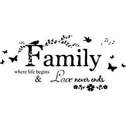 Blinggo Family Letter Quote Removable Vinyl Decal Art Mural Home Decor Wall Sti