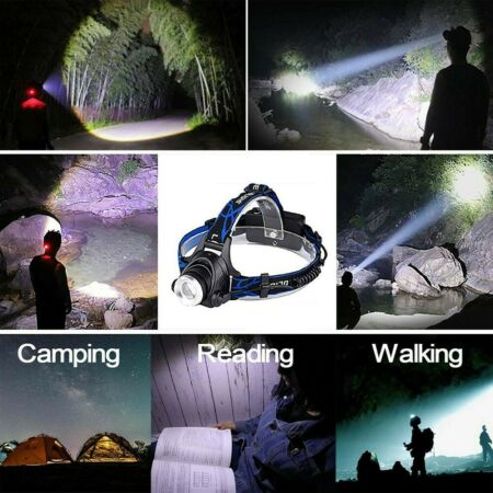 img-Bright LED Headlamp Headlights Head Torch Lights Zoom Outdoor Kit USB Chargeable