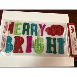Merry and Bright Holiday Time Winter Christmas Window Gel Sticker Cling - NEW