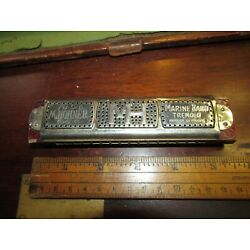 Hohner Pre War Marine Band Tremolo Harmonica~Key OF C,GERMANY,RED LAQUER,MH,5.5