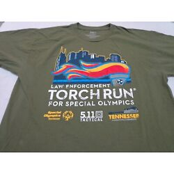 5.11 TACTICAL  Tennessee Law Enforcement  Torch Run Green T Shirt  Size Large