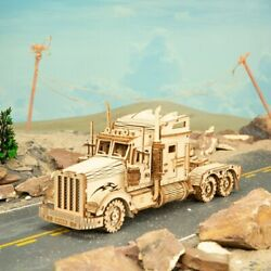 ROKR DIY 3D Wooden Puzzle, 1:40 Handmade Toy, Heavy Track Model, Kids Gifts US