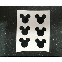 Set of 6 Mickey mouse Head Vinyl Decals .75'' H car Windows phone cups laptop