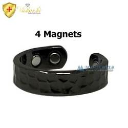 BLACK HAMMERED 4 MAGS PURE SOLID COPPER MAGNETIC RING MEN WOMEN ARTHRITIS CX3H