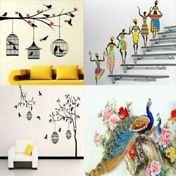 4 Wall Sticker Love Birds with Hearts,Tribal Lady,Free Bird Case Red & Peacock