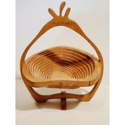 HARRY & DAVID BAMBOO WOOD WOODEN PEAR SHAPED EXPANDING COLLAPSIBLE FRUIT BOWL