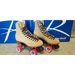 NEW Riedell Zone 135 Roller Skates Suede Tan Size 6 M,  Women's 7-7.5 FREE SHIP