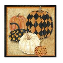 TWO Individual Paper Cocktail Decoupage Fall Autumn Pumpkin Napkins Harlequin
