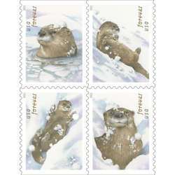 #5648  5651 2021 Otters in the Snow Bklt Block/4 - MNH (Ships after Oct 12)