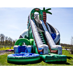 25x15x20 Commercial Inflatable Jungle Curved Water Slide Wet Bounce House Castle