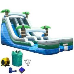 Double Water Slide Commercial Inflatable Blow Up Waterslide Tropical With Blower