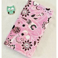 Handcrafted Pink Paisley Minky Print & Pink Minky Bubble Baby Burp Cloth