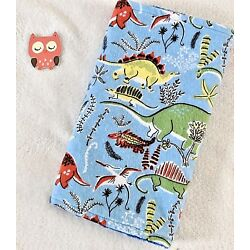Handcrafted, Blue Dinosaurs Flannel Print & Blue Minky Bubble Baby Burp Cloth