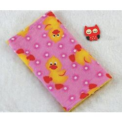 Handcrafted, Pink Duck Print & Yellow Minky Bubble, Baby Burp Cloth