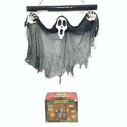Gemmy FLOATING GRIM REAPER Ghost Scream Face Light Sound Animated Halloween 2 Ft