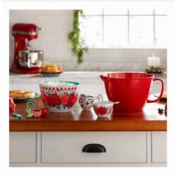 Pioneer Woman Cheerful Rose 10-pc Batter/Mixing Bowl W/Measuring Cups & Spoons