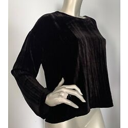 Eileen Fisher Nwt $298 Silk Blend Crushed Velvet Round Neck Box Top Blouse L